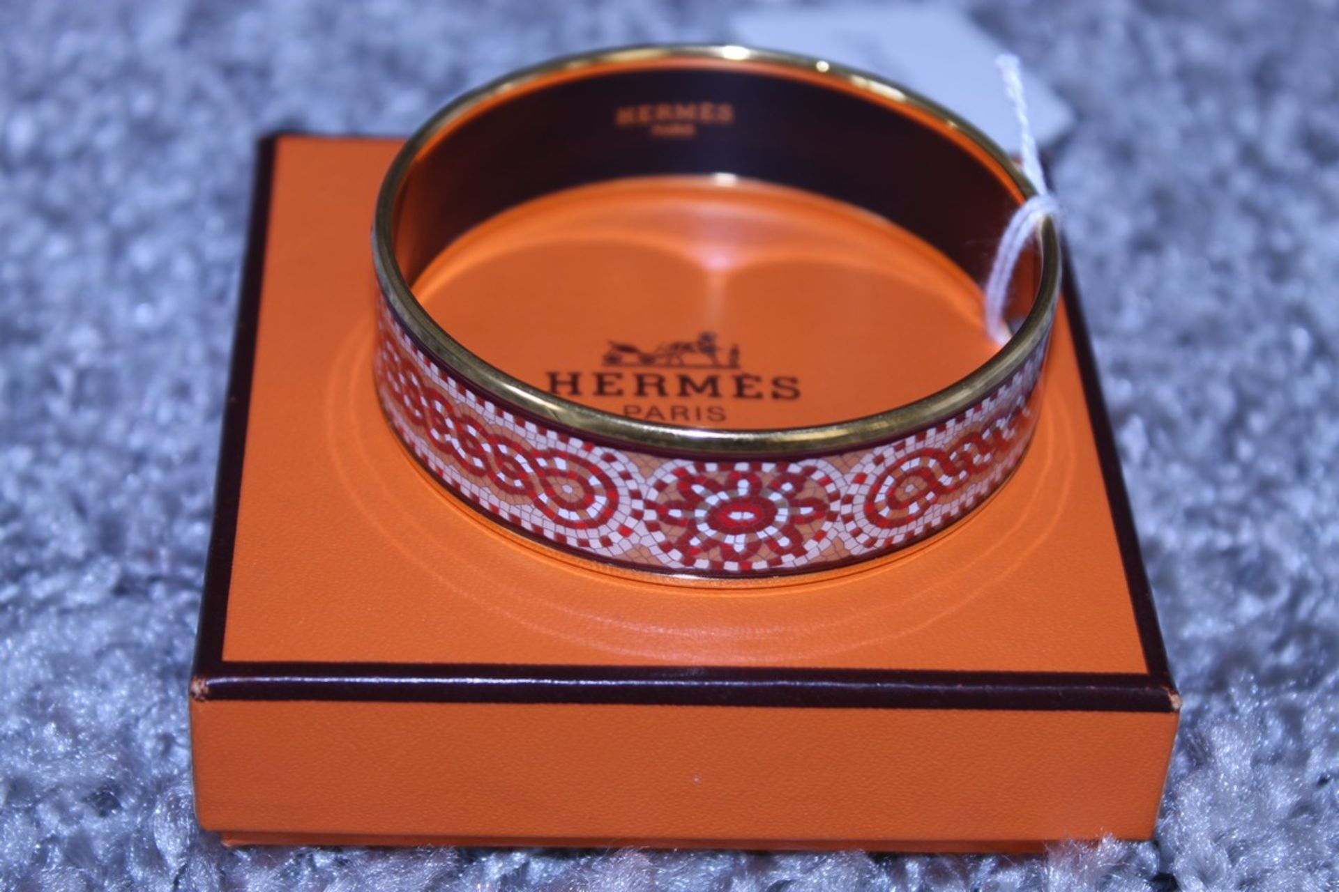 RRP £600 Hermes Enamel Bangle, Tile Art Motif, Red/Orange/Yellow, Diameter 6Cm, Condition Rating Ab, - Image 2 of 3