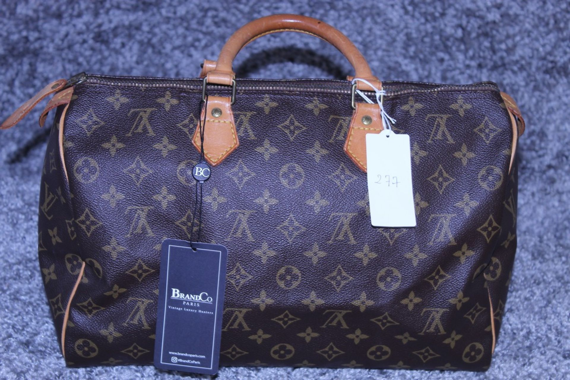RRP £1100 Louis Vuitton Speedy Brown Coated Monogram Canvas Handbag With Vachetta Handles (
