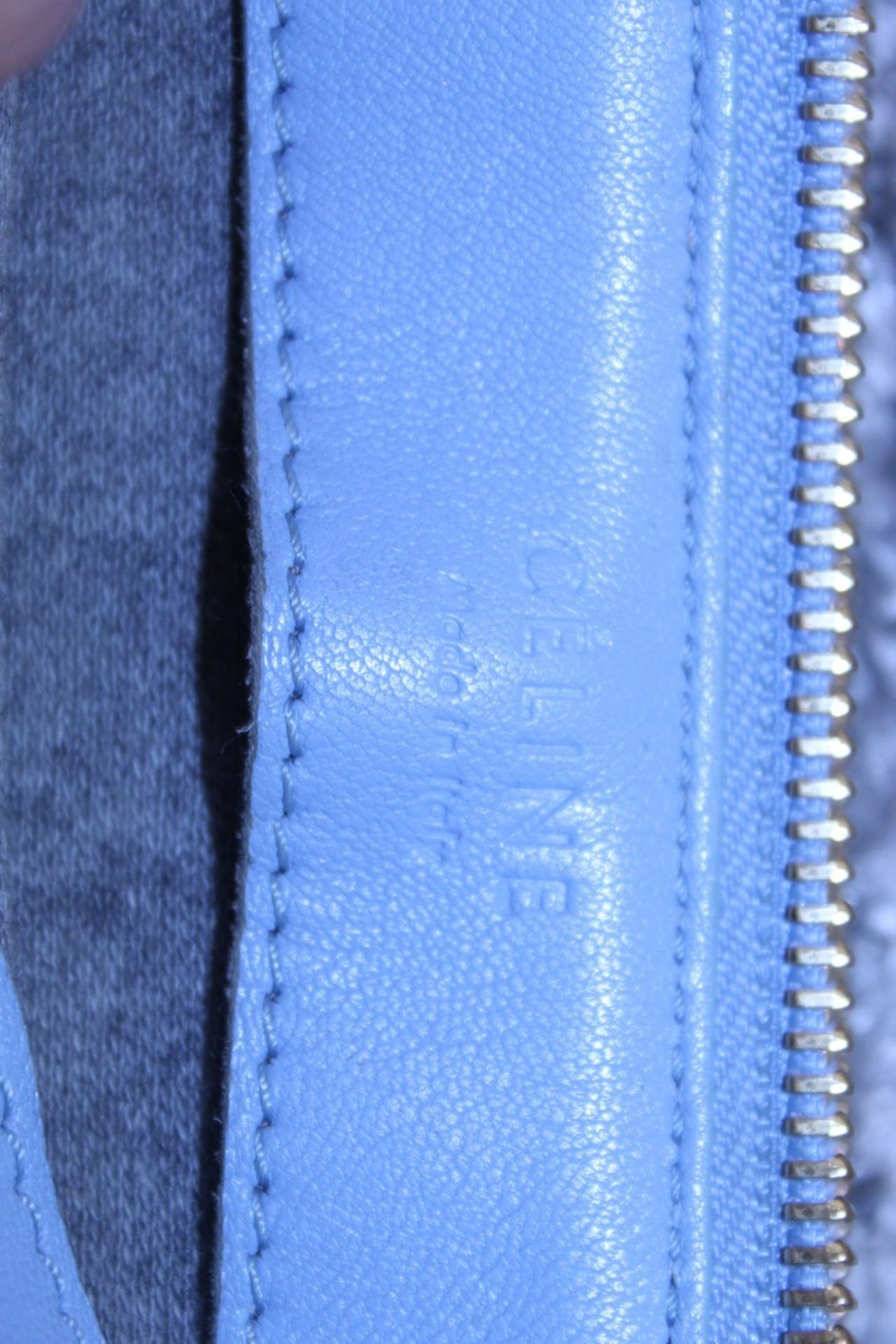 RRP £890 Celine Small Shoulder Bag, Blue Small Grained Claf Leather With Blue Leater Handles. - Image 3 of 3