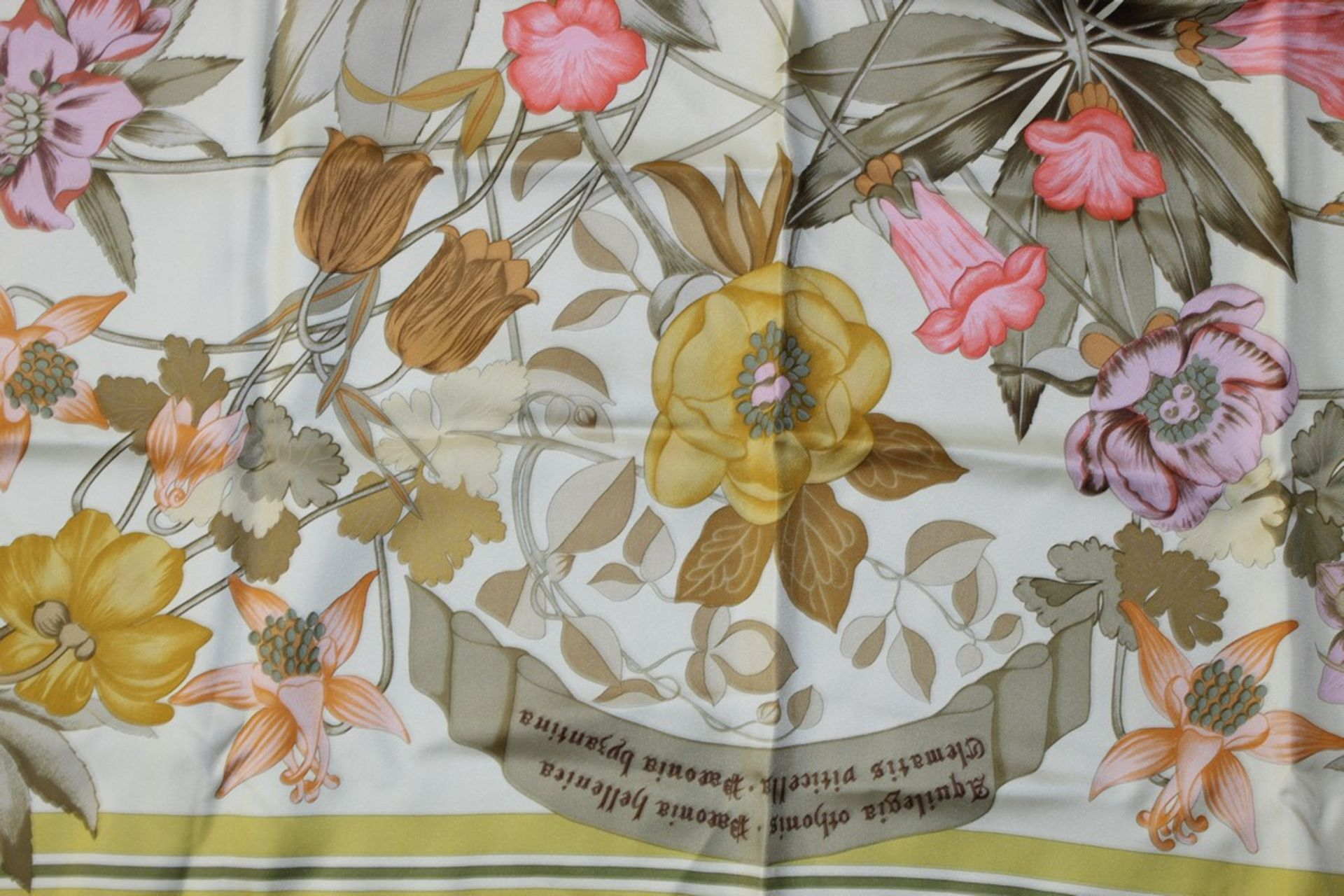 RRP £680 Hermes 100% Twill Silk Scarf, Aquilegia Othonis By Niki Goulandris, Yellow/Green, 90X90Cm - Image 2 of 3