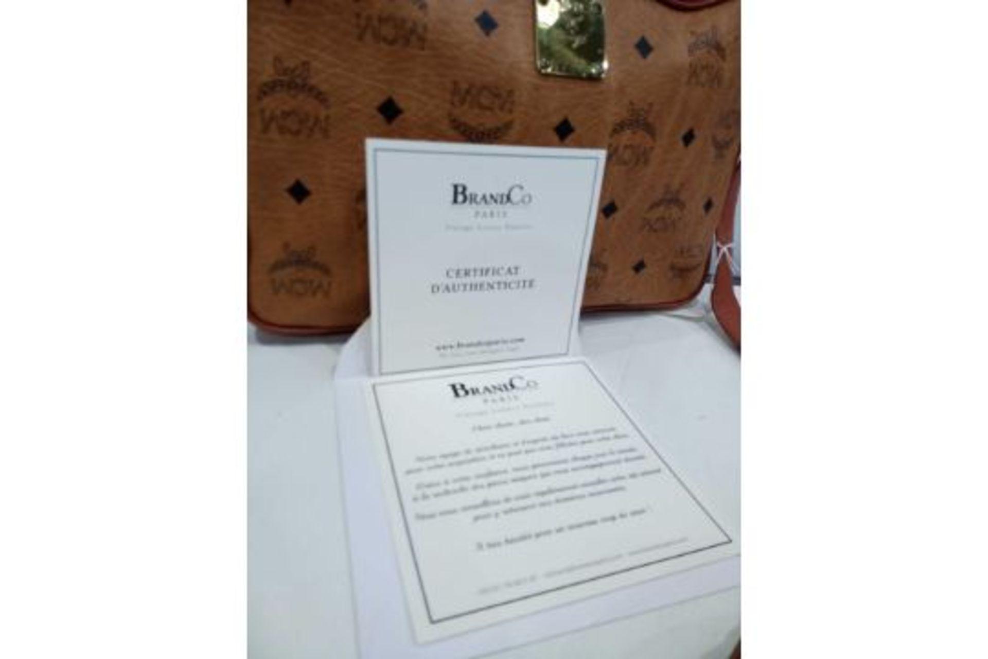 RRP £600 Mcm Cognac Visteos Cognac Leather Coated Canvas Golden Hardware Zip Shoulder Bag (Condition - Image 3 of 3