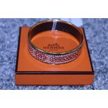 RRP £600 Hermes Enamel Bangle, Tile Art Motif, Red/Orange/Yellow, Diameter 6Cm, Condition Rating Ab,