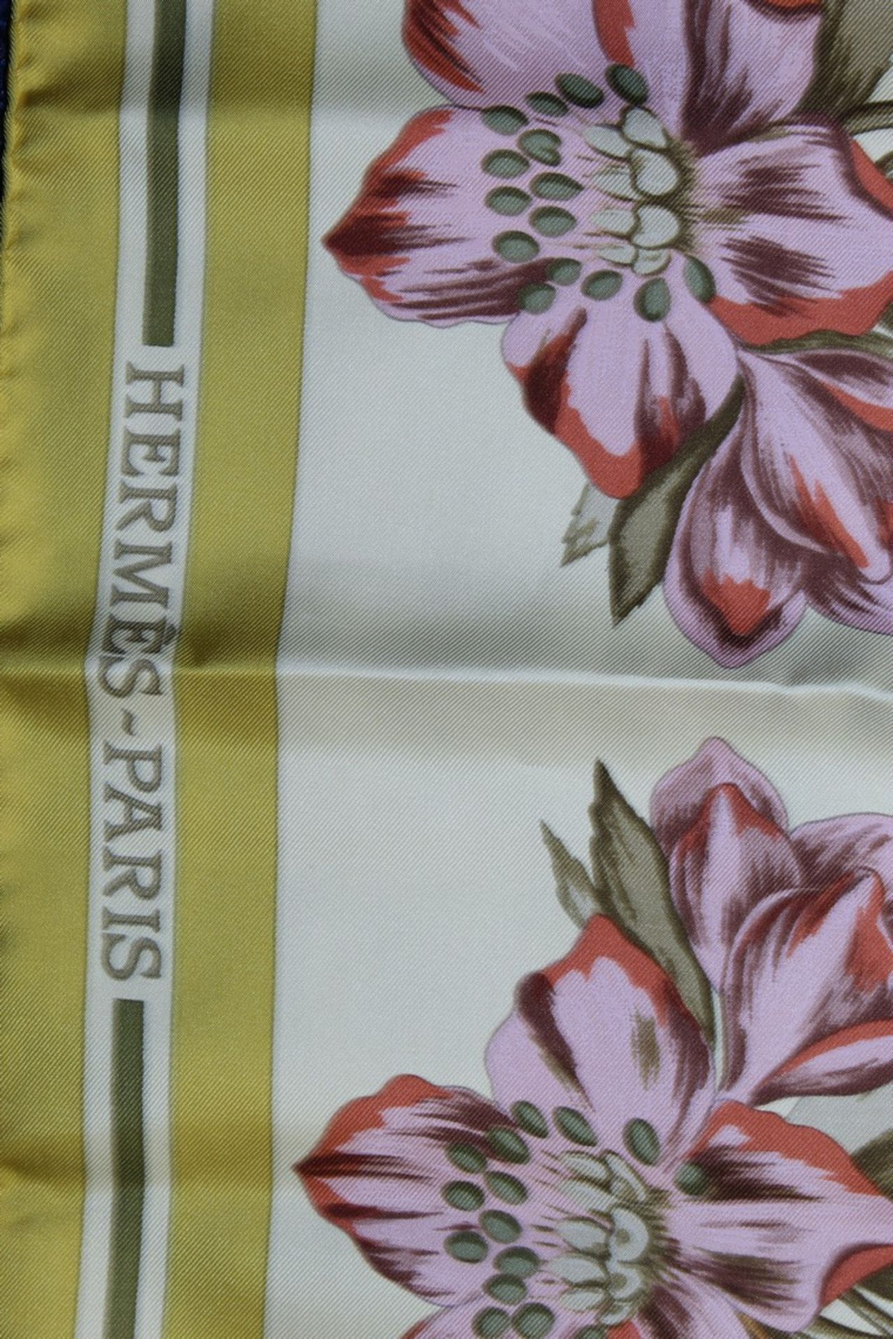 RRP £680 Hermes 100% Twill Silk Scarf, Aquilegia Othonis By Niki Goulandris, Yellow/Green, 90X90Cm - Image 3 of 3