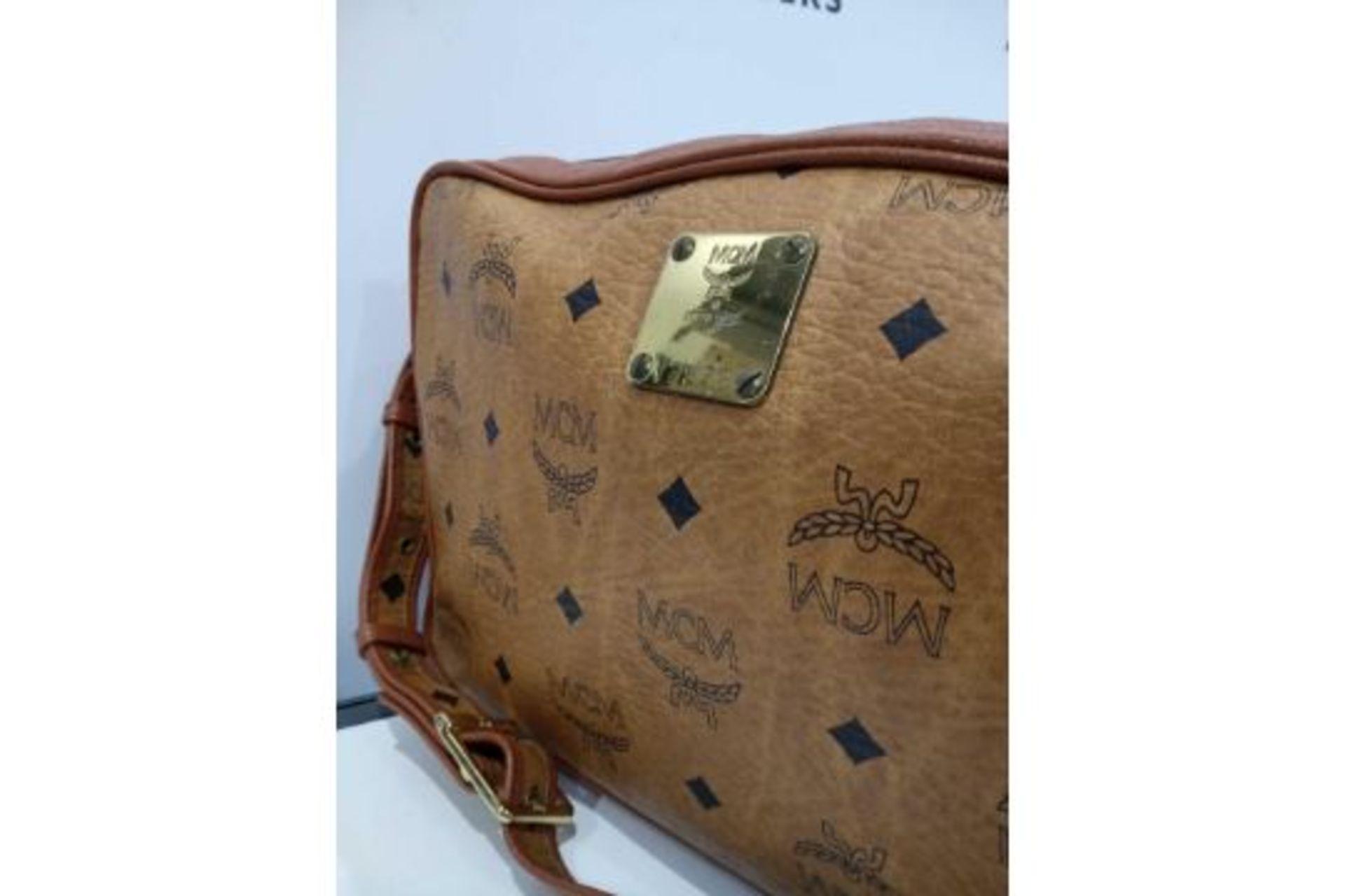 RRP £600 Mcm Cognac Visteos Cognac Leather Coated Canvas Golden Hardware Zip Shoulder Bag (Condition - Image 2 of 3