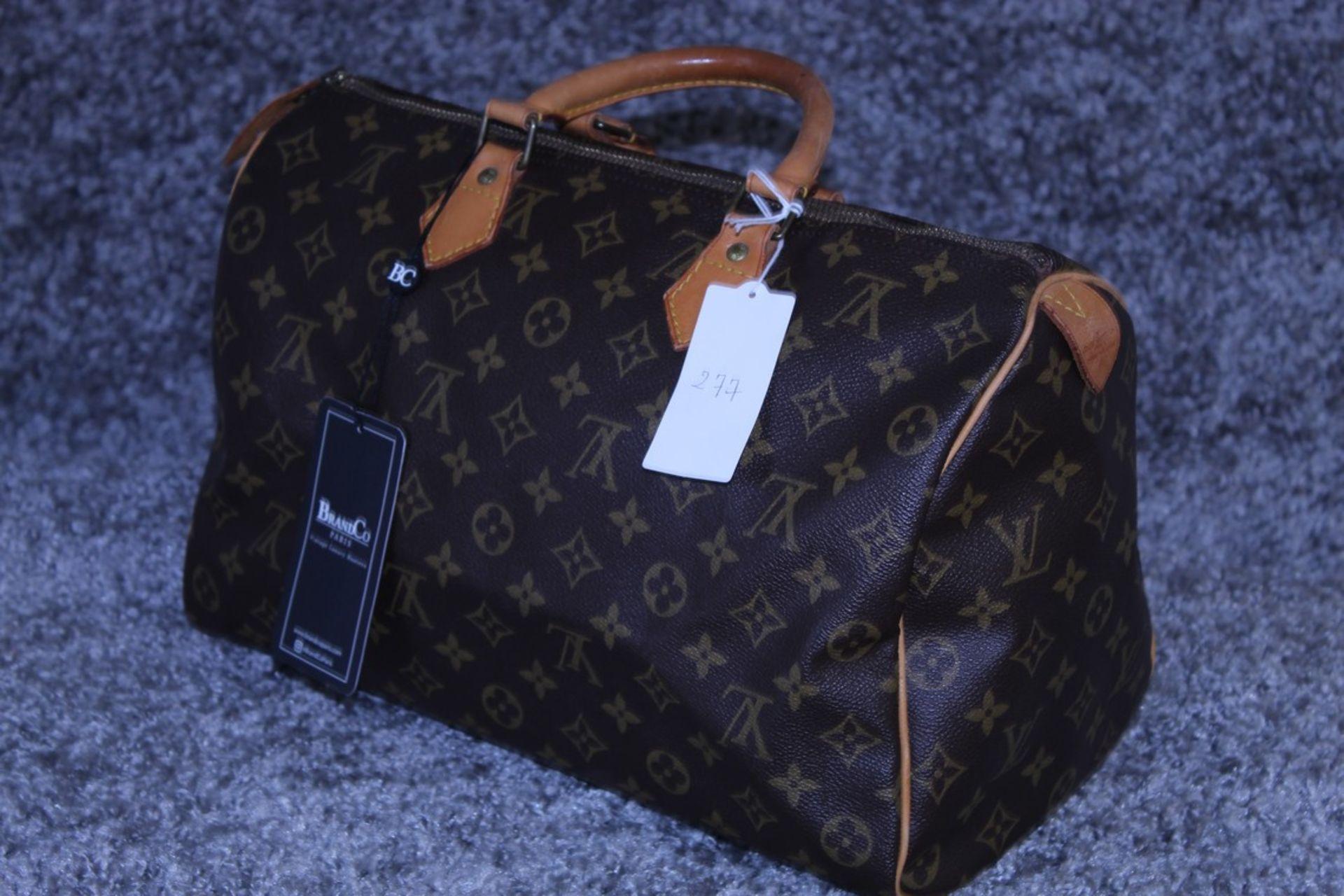 RRP £1100 Louis Vuitton Speedy Brown Coated Monogram Canvas Handbag With Vachetta Handles ( - Image 3 of 3