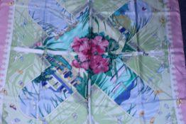 RRP £580 Hermes 100% Twill Silk 90X90Cm Pink/Green/Light Blue 90X90Cm Varangues By Dimitri