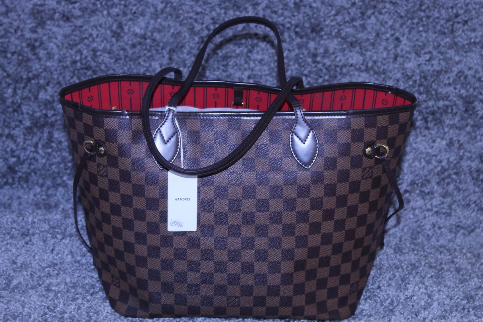 RRP £1300 Louis Vuitton Neverfull Shoulder Bag In Brown Coated Canvas With Vachetta Handles ( - Image 2 of 3