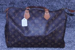 RRP £1150 Louis Vuitton Speedy Size 35 Brown Coated Canvas/Monogram Canvas Vachetta Strap Handled
