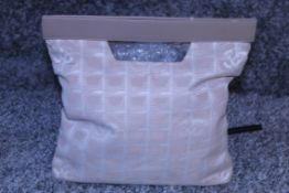 RRP £1,040 Chanel Travel Line Handbag, Beige Jacquard Canvas Travel Line Top Handle Bag, 28.5X29X3Cm