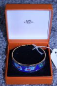 RRP £600 Hermes Enamel Bangle, Duck Flag Motif Blue/Red/Green 7Cm Diameter, Condition Rating Aa, (