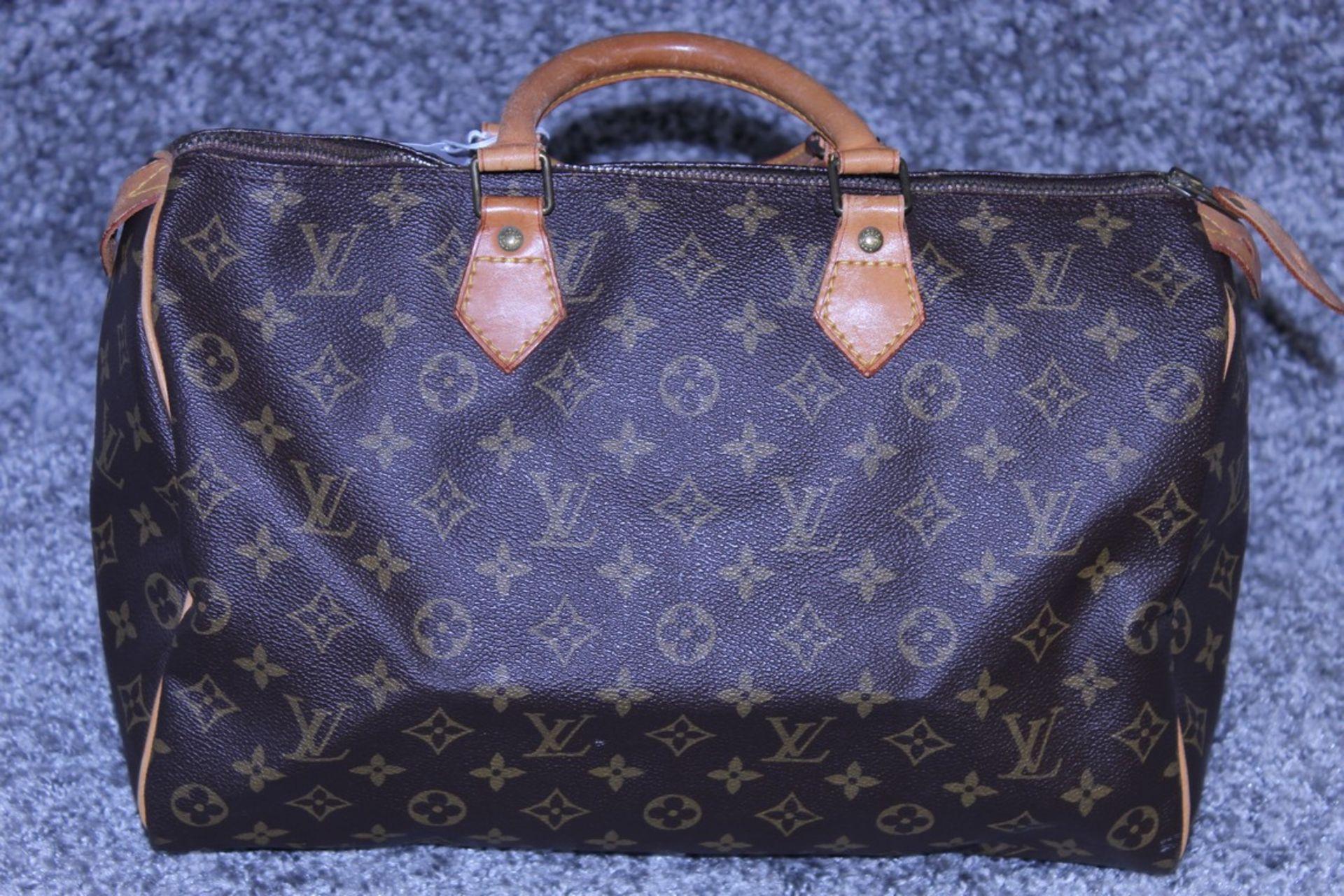 RRP £1100 Louis Vuitton Speedy Brown Coated Monogram Canvas Handbag With Vachetta Handles ( - Image 2 of 3