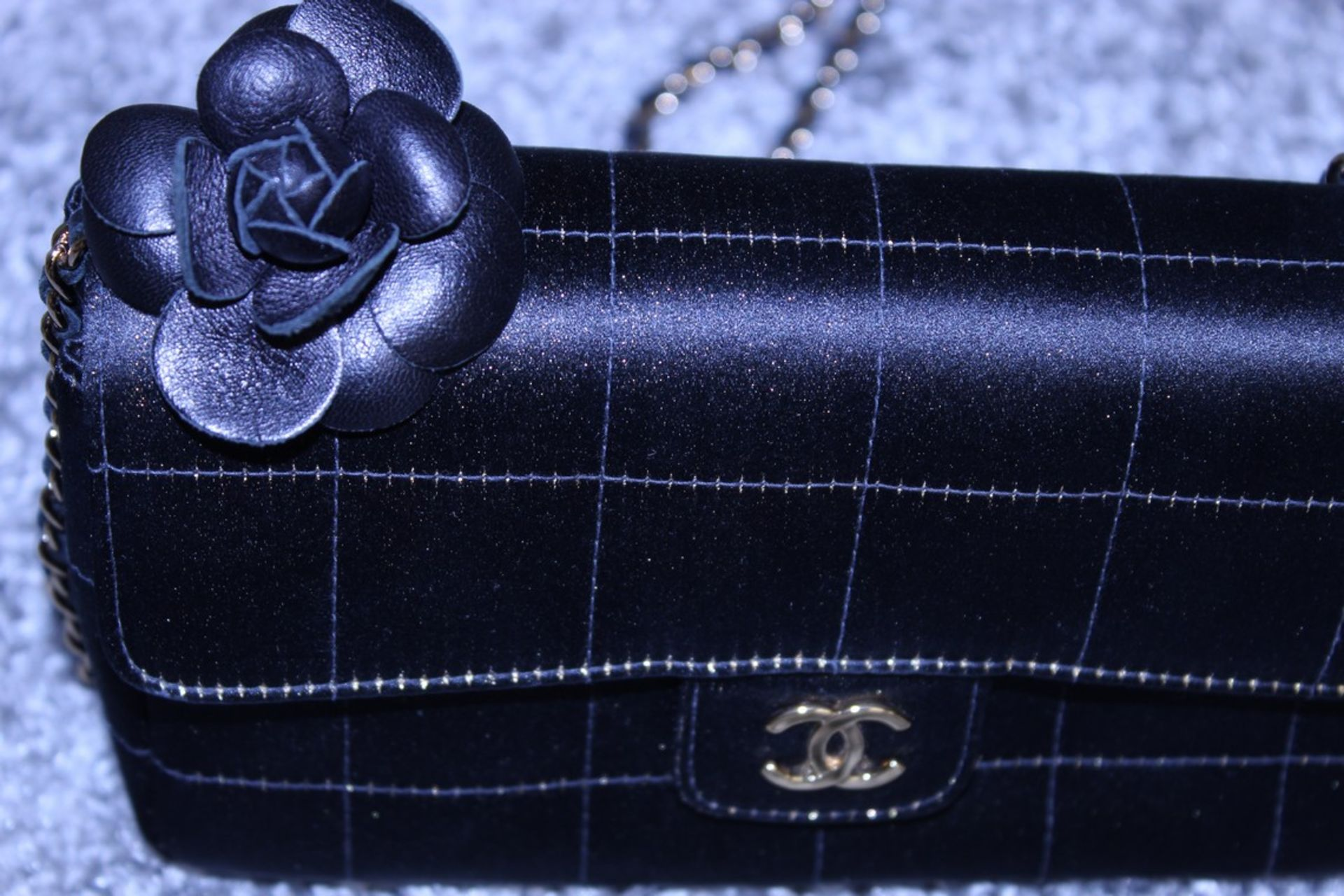 RRP £3,500 Chanel Timess Silk Bag, Black Canvas Square Quilted, Gold Chain Handles (Production - Image 2 of 3