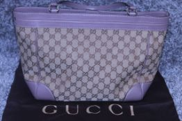 RRP £1200 Gucci Mayfair Tote Shoulder Bag In Beige/Brown Monogrammed Canvas Condition Rating Aa (