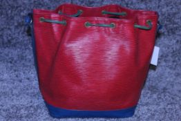 RRP £1,200 Noe Tricolor Shoulder Bag, Red/Blue/Green Epi Claf Leather With Black Stitching