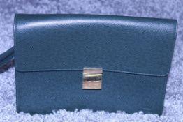 RRP £1,500 Louis Vuitton Selenga Handbag, Dark Green Taiga Calf Leather, 25X18X2.5Cm (Production