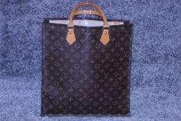 RRP £1,950 Louis Vuitton Sac Plat Shoulder Bag, Brown Coated Monogram Canvas 35X37X5Cm, Condition