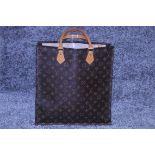 RRP £1,950 Louis Vuitton Sac Plat Shoulder Bag, Brown Coated Monogram Canvas 35X37X5Cm, Condition