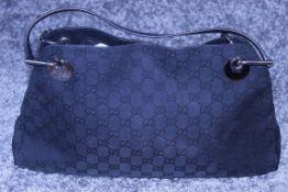RRP £1200 Gucci Eclipse Tote Black Leather Ruthenium Black Canvas Leather Monogram Shoulder Bag (