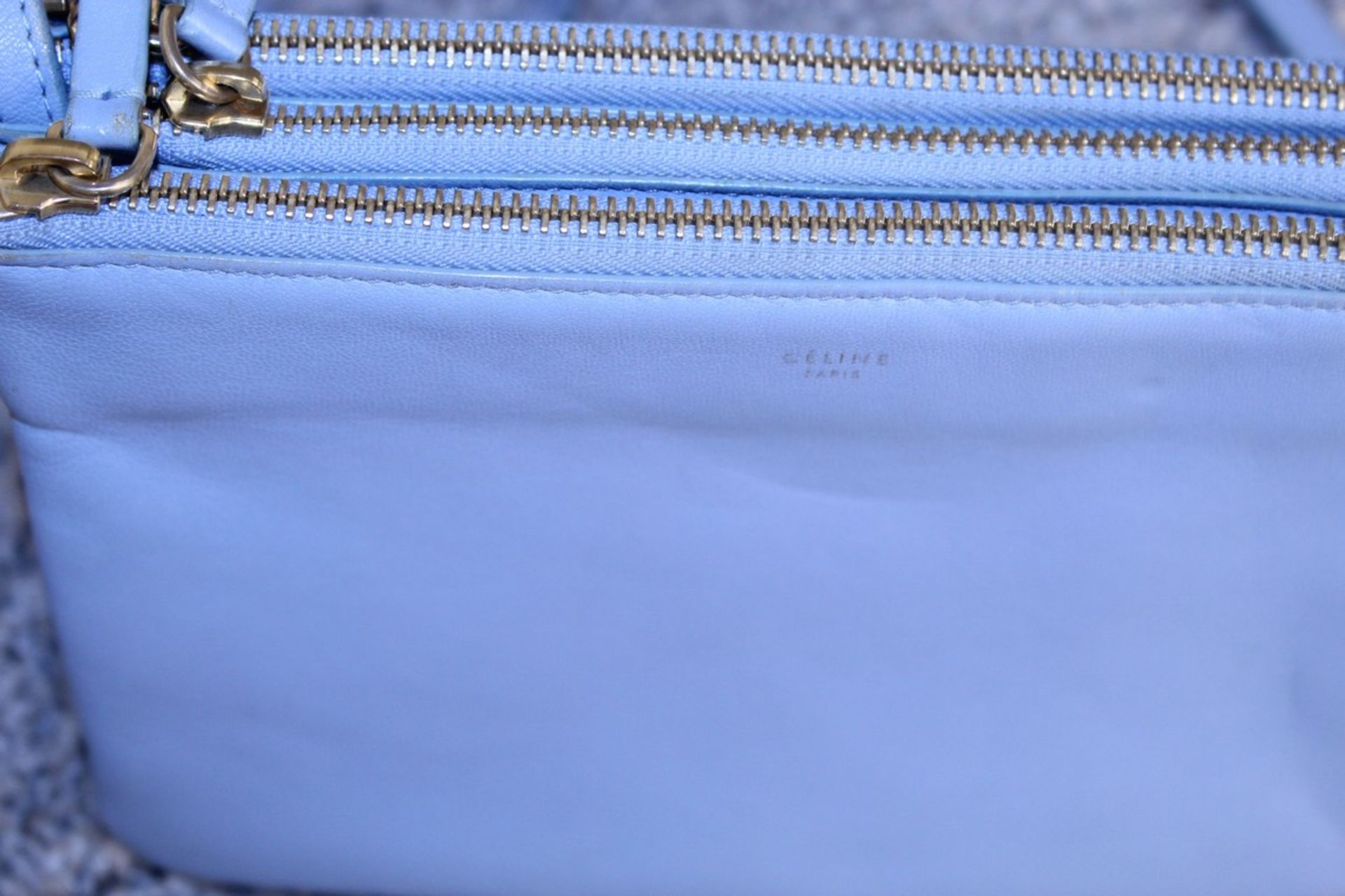 RRP £890 Celine Small Shoulder Bag, Blue Small Grained Claf Leather With Blue Leater Handles. - Image 2 of 3