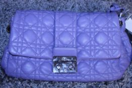 RRP £1,700 Dior Violet Lock Flap Shoulder Bag, Calf Leather, Violet Leather Straps, 24X17X12Cm (