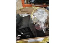 Pallet To Contain A Large Assortment Of Mixed Stock To Include Unboxed Lighting Items, Mini Fridge,