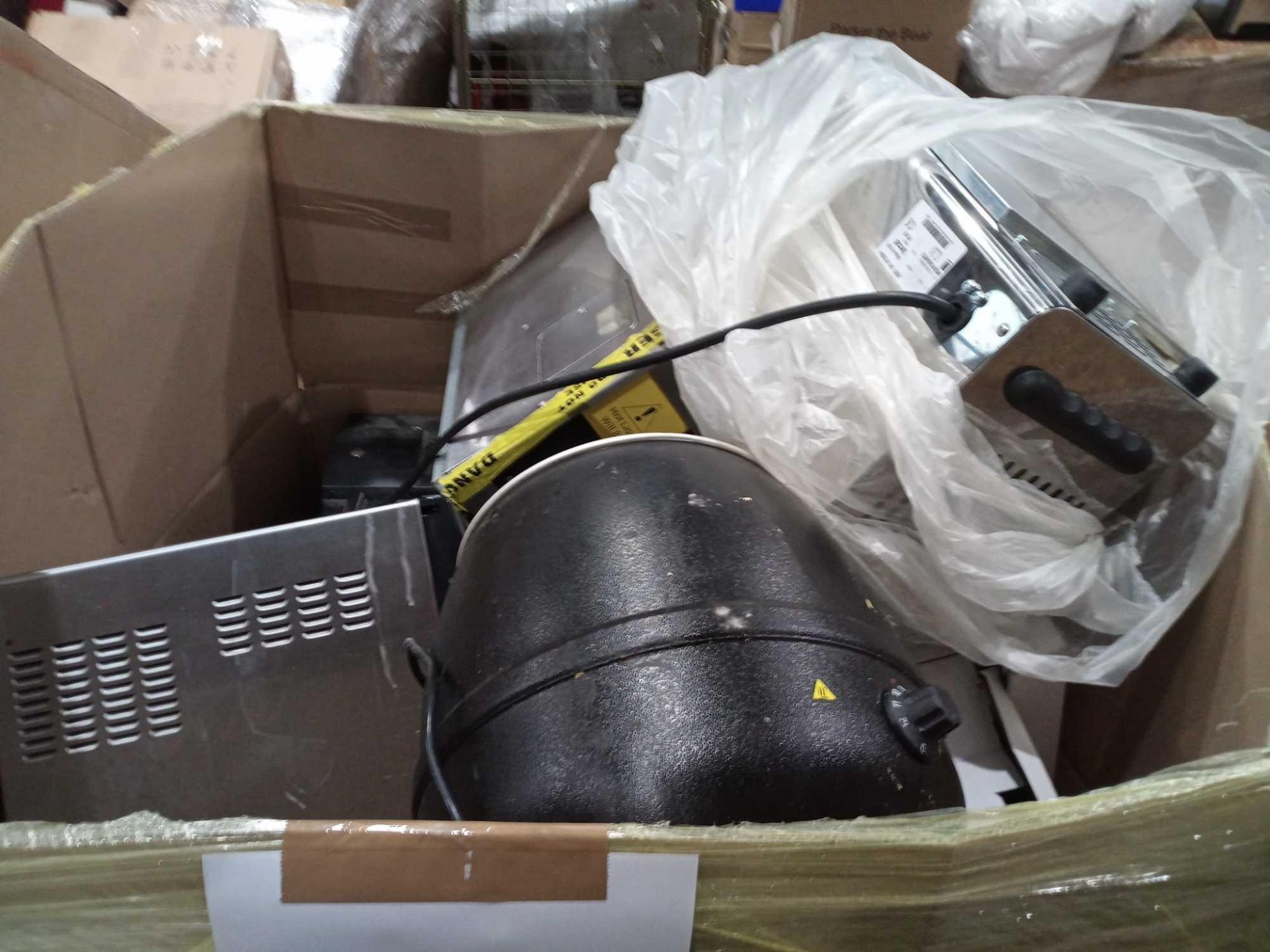 Pallet To Contain Mixed Stock To Include Microwaves Toasters, Hoovers, Unboxed And Boxed Lighting, W