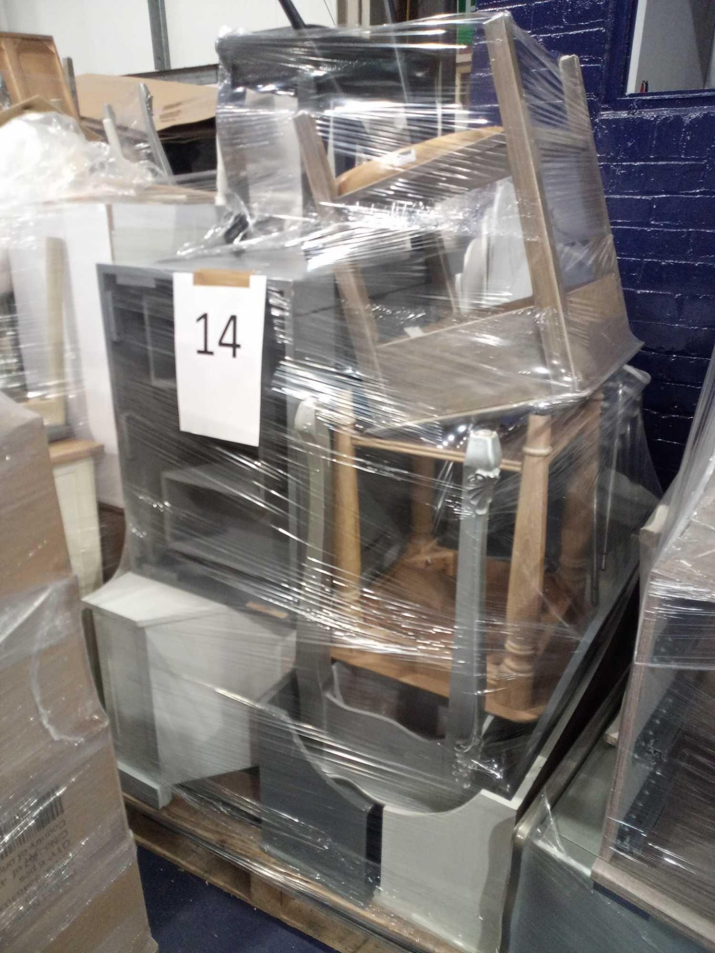 Pallet To Contain 13 Furnishing Items To Include Coffee Tables, Stools, Tv Stand And White Chairs.