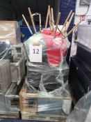 Pallet To Contain 10 Furnishing Items To Include Plastic Coloured Chairs Coffee Table And Wooden Cha