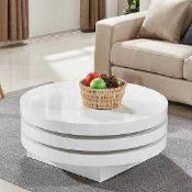 RRP £250 Boxed Triplo Round White High Gloss Coffee Table