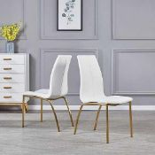 RRP £250 Boxed Furniture In Fashion Pair Of Opal White Dining Chairs With Brushed Gold Base