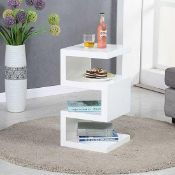 RRP £160 Boxed Trio Modern Side Table In White High Gloss