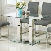 RRP £250 Jet Small Dining Table Rectangular In Clear Glass