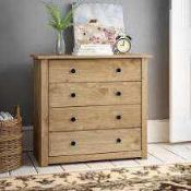 RRP £220 Boxed Stockwell 4 Drawer Chest Rustic Oak Effect