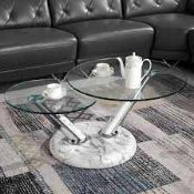 RRP £320 Boxed Tokyo Rotating Coffee Table In Marble Pvc