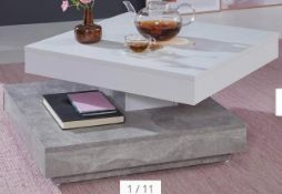 RRP £200 Boxed Coffee Table In White And Gray Concrete Design Table Top Rotatable, Square Living Roo