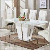 RRP £640 Boxed Memphis Glass Dining Table In White Gloss And Chrome Base