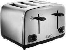 RRP £30 To £45 Each Assorted Boxed Russell Hobbs Kitchen Items To Include Deep Fryer 4-Slice Toaster
