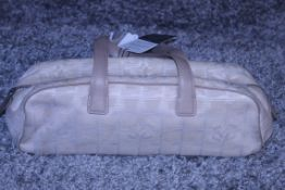 RRP £1200 Chanel Travel Line Bowling Shoulder Bag In Beige Canvas With Beige Canvas Handles.