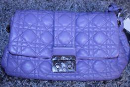 RRP £1,700 Dior Violet Lock Flap Shoulder Bag, Calf Leather, Violet Leather Straps, 24X17X12Cm (
