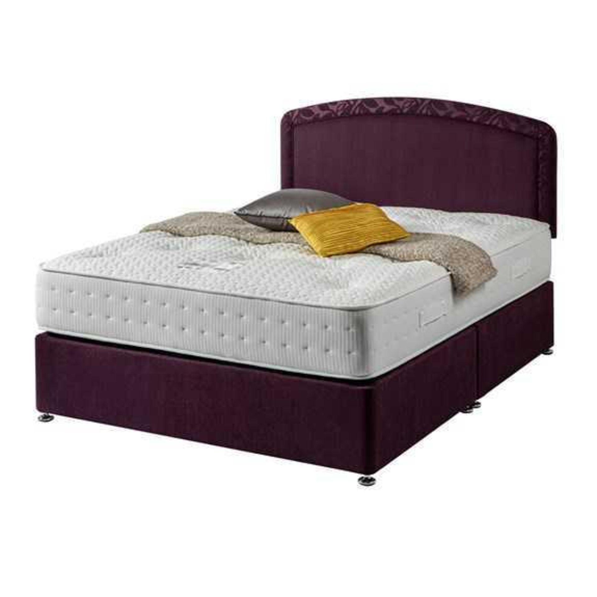 RRP £650 Lorenza 5-Ft Sleepright Aubergine Divan Bed With Mattress ( No Headboard) Ex Showroom