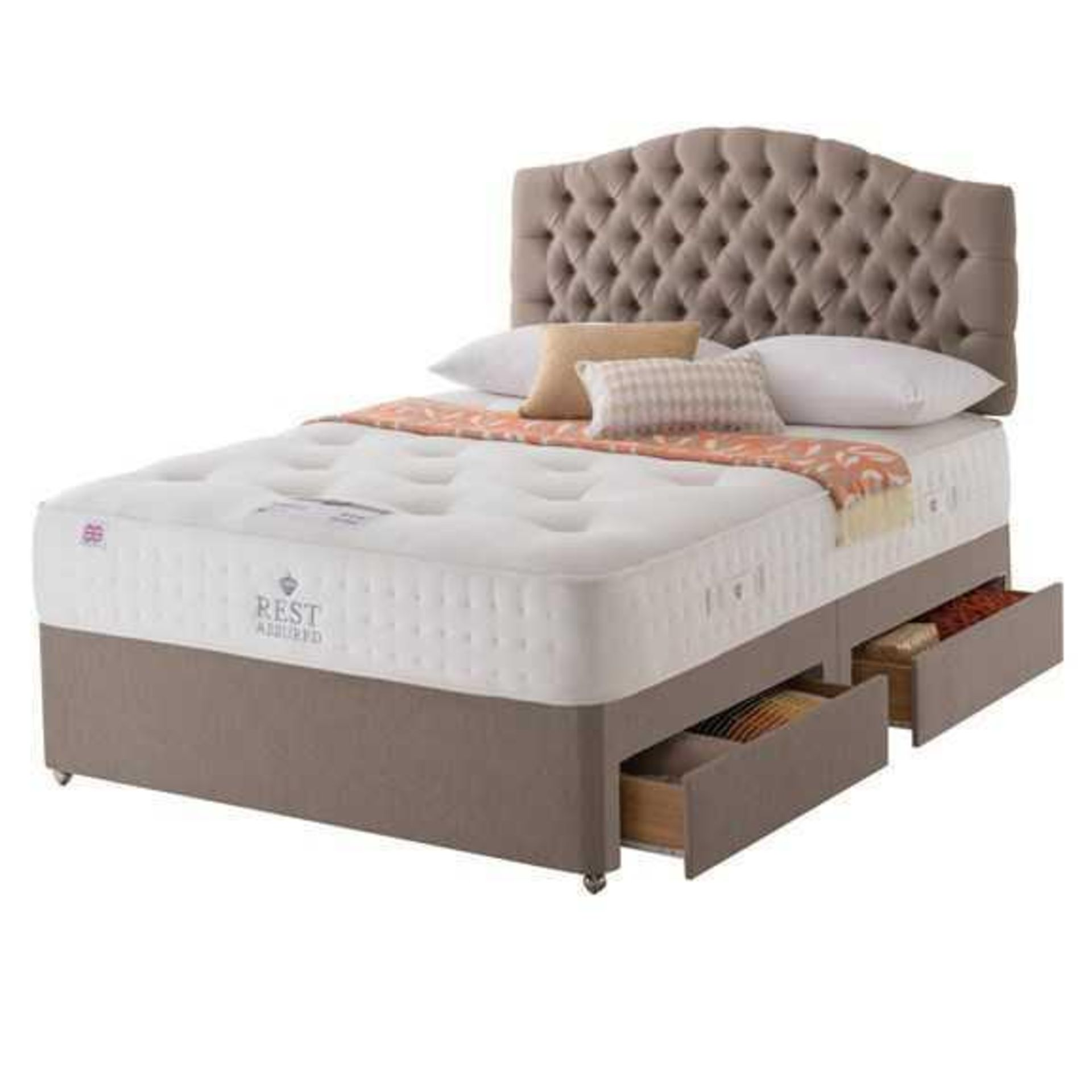 RRP £2100 Ex Showroom Rest Assured Natural Buckingham Tan 5Ft Bed Divan Bed With Mattress