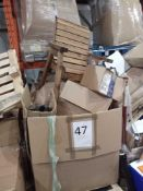 Pallets To Contain A Large Assortment Of Lampshades Assorted Rolls Of Wallpaper And A Outdoor Wooden
