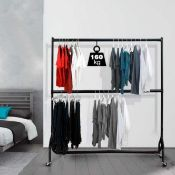 RRP £50 Boxed 6-Ft Heavy-Duty 2-Tier Clothes Rail
