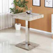 RRP £200. Boxed Topaz Bar Table In Grey Oak Effect.