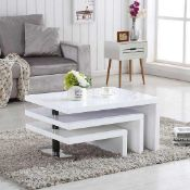 RRP £320 Design Coffee Table Rotating In White High Gloss With 3 Tops