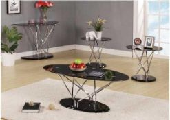 RRP £200. Boxed Black And Chrome Toulouse Coffee Table + 2 End Tables