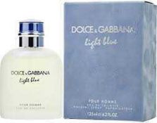 RRP £55 Unboxed 125Ml Bottle Of Dolce And Gabbana Light Blue Edt Spray Ex-Display