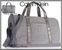RRP £80 Calvin Klein Grey fabric and Leather Duffle Bag