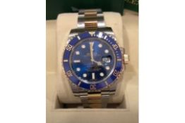 RRP £18,000 Rolex Submariner Stainless Steel & Gold Blue Dial, Blue Bezel, Model Number 116613Lb,