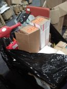 Pallet To Contain Various Household Items Including A Chair, Christmas Gift Wrap, Children's Ride On